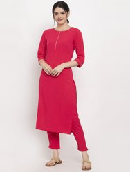 Women Kurta And Pant Set Polyester, Crepe (Pink)