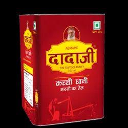 Dadaji Yellow 15L Kachi Ghani Mustard Oil, Packaging Type: Tin, Packaging Size: 15 Liter