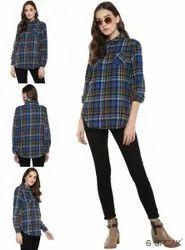 Full Sleeves Cotton Ladies Blue Check Shirts, Semi-formal