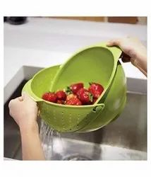 Green Plastic One Side Washing Bowl, For Home