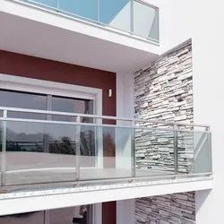 Silver Stainless Steel Glass Balcony Railing