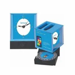 Blue Plastic GRN-66 Promotional Table Top Clock, For Office, Shape: Square