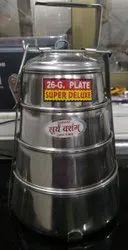 Silver Round Suryavansham Pyramid Plate Stainless Steel Tiffin, For Home, Thickness: 26 Gauge