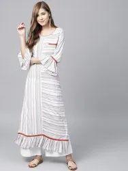 La Firangi Women Multicoloured Striped A-line Kurta