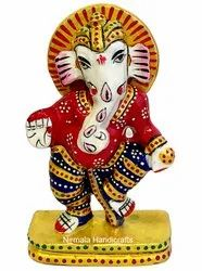 Metal Meenakari Dancing Ganesh Statue God Idol Sculpture