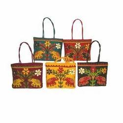 Multicolor Aplique Work Hand Bag, Size: 12x12x6 Inch