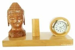Wooden Pen Stand With Buddha Statue Watch Stand Home/office Desk Decorative Showpiece