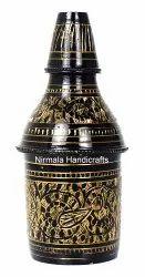 Nirmala Handicrafts Brass Meenakari Bottle Decorative Showpiece And Gift Artifacts