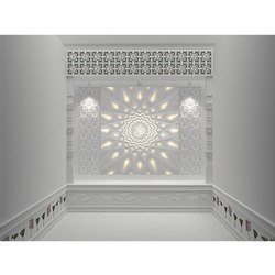 White Decorative Marble Temple With Backlit OM