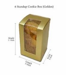 Paper Square 6 Standup Cookie Box (Golden)