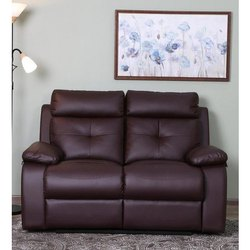 Leather Manual 2 Seater Black Recliner Sofa, For Home