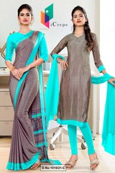 Brown Sea Green Paisley Print Premium Italian Silk Crepe Saree For Staff Uniform Sarees