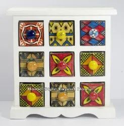 Wooden Chest Of Drawers 9 Ceramic Standard Boxes ( White), For Kitchen, Size: 9.25 * 3.50 * 9.50 Inch
