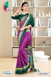 Wine Bottle Green Premium Italian Silk Crepe Saree For Industrial Uniform Sarees 1013