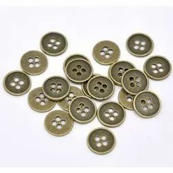 Round 4 Hole Metal Garment Button, For Garments, Packaging Type: Packet