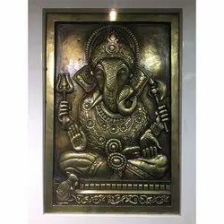 3D Ganesha Metal Stone Mural
