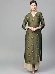 La Firangi Women Olive Green & Golden Printed Straight Kurta