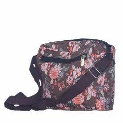 Koklass Bags Cotton Primrose Brown Flower Print Sling Bag, Size: 25 X 7 X 15 Cm
