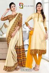 Beige Yellow Printed Blouse Concept Polycotton Raw Silk Saree For Receptionist Uniform Sarees 1081