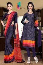 Indigo And Orange Sarees Salwar Combo For Institute Uniform