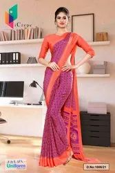 Wine Pink Premium Italian Silk Crepe Saree For Hotel Uniform Sarees