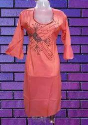 Casual Wear 3/4th Sleeve Ladies Rayon Kurti, Wash Care: Handwash