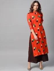 La Firangi Women Orange & Green Printed Straight Kurta