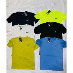 Cotton Round Mens Half Sleeves Plain T-Shirt