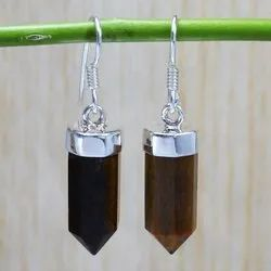 Pencil Shape Earring Tiger Eye Gemstone 925 Sterling Silver Jewelry
