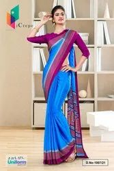Blue Wine Premium Italian Silk Crepe Saree For Jelwellery Showroom Uniform Sarees