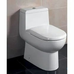 Closed Front White Hindware Flora P One Piece Closet, For Bathroom Fitting, Size/Dimension: 62x37x67 Cm