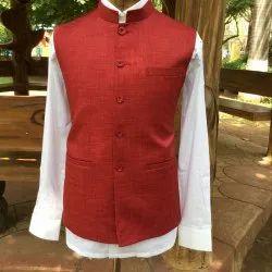 Red Nehru Jacket, Size: 40 To 50