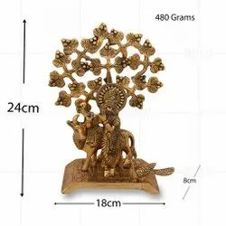 Gold Plated Krishna Cow Tree Big