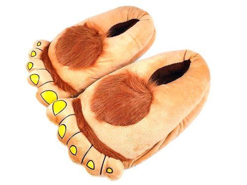 Brown Hobbit Paw Soft Sole Indoor Shoes, Adult