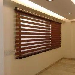 Plain Wooden Zebra Blinds