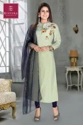 Riviera Cotton Printed Ladies Suits, Wash Care: Dry clean