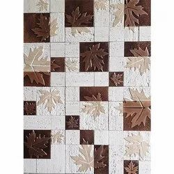 Leaf Print Natural Stone Traventine With Copper Plating