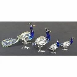 Blue,White Color Coated Glass Peacock Show Piece Set, For Decoration, Packaging Type: Box