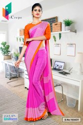 Dark Pink Orange Premium Italian Silk Crepe Saree For Showroom Uniform Sarees 1034