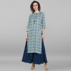 Janasya Women''s Turquoise Blue Rayon Ethnic Dress(J0042)