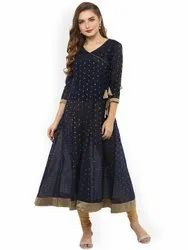 La Firangi Women Navy Blue & Gold-Toned Printed Anarkali Kurta