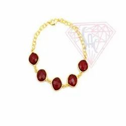 Red Garnet Gold Plated Bracelet Jewelry
