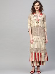 La Firangi Women Beige & Red Striped Top With Palazzos