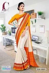 Orange And Beige Cotfeel Uniform Saree