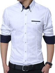 Plain Collar Neck Men'S Cotton Shirt, Handwash