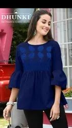 Girls Rayon Top With Embroidery