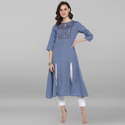 Janasya Women's Light Blue Rayon Flex Kurta(J0073)
