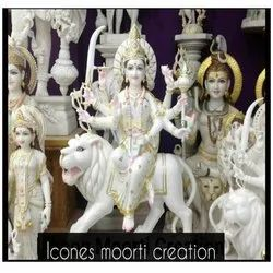 Decorative White Marble Durga Maa Statue