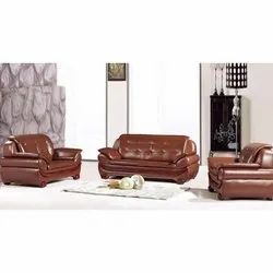 Brown 4 Seater Design Leather Sofa Set, For Home