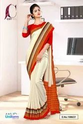 Cream Red Plain Gala Border Polycotton Cotfeel Saree For Factory Uniform Sarees 1086